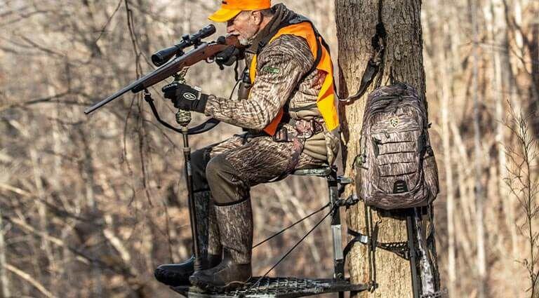 Hunter using a shooting stick