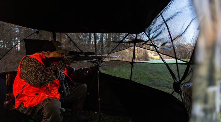 Hunter in Surroundview Double Wide Ground Blind