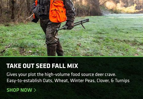 Hunter walking through food plot planted with Take Out Fall Mix